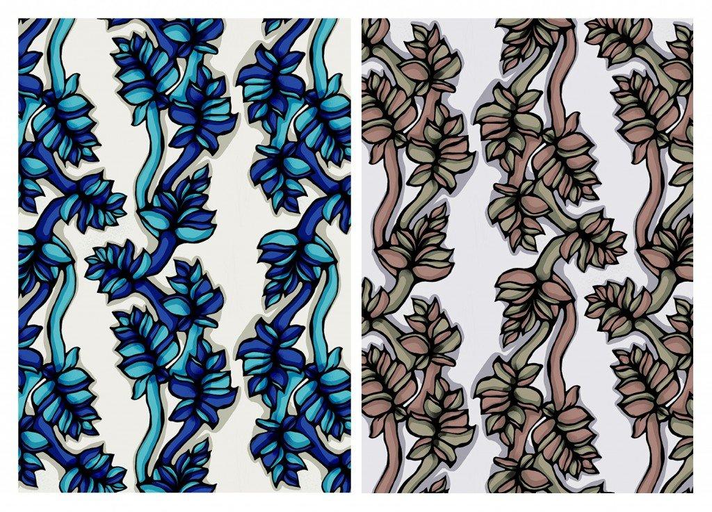 Dessin textile avec feuilles dans design textile patternleaves3