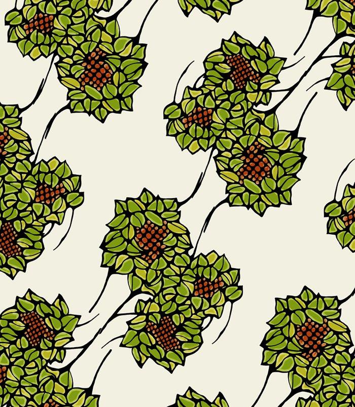 Design textile avec motif floral dans 2D dessin florsgrans