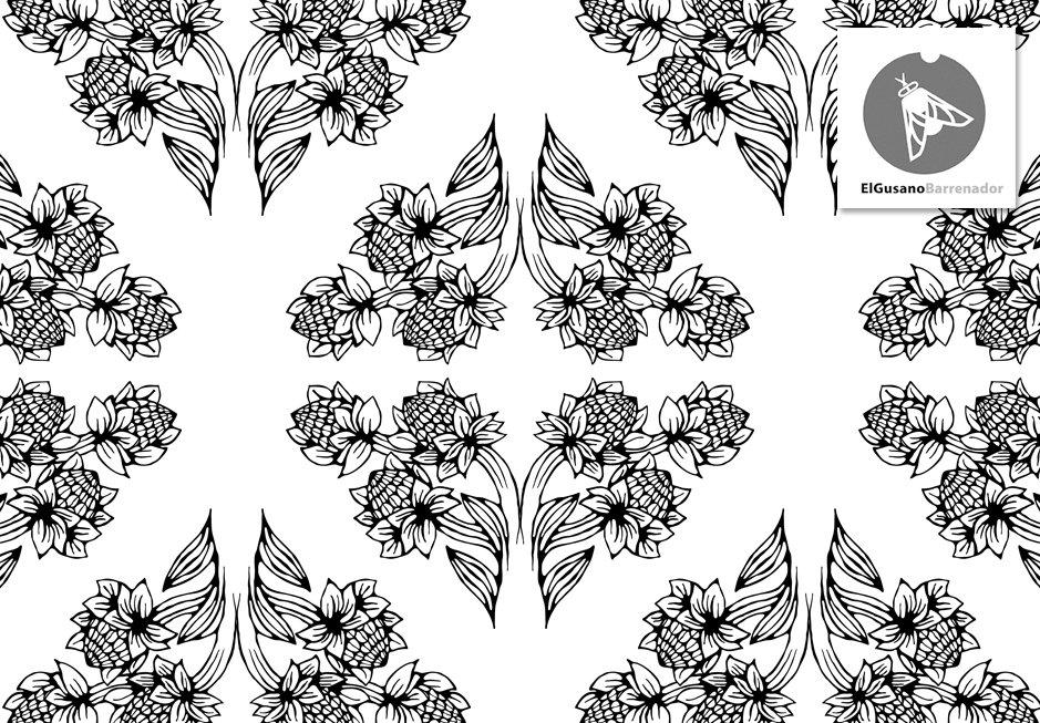 Motif r p titif avec feuilles et fleurs dessin textile for Motif dessin